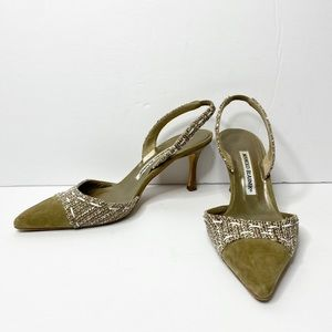 Auth. Manolo Blahnik 'Carolyne' Tweed Slingbacks